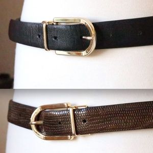 Reversible black/brown leather belt (2 belts in 1)